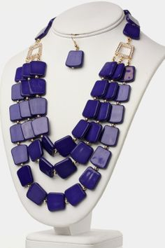 WOW! LOVELY SQUARED BEADS NECKLACE AND EARRINGS SET (PURPLE) - $22.00