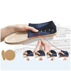 Fancy thread to espadrilles PRYM - blueof cotton and very resistant thread to help you to make lovely espadrilles. To find soles of espadrilles, it is this way: Espadrilles PRYM Crochet Shoes, Crochet Slippers, Espadrilles, Denim Crafts, Shoe Pattern, How To Make Shoes, Doll Shoes, Summer Shoes, Diy Clothes