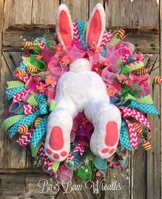 Easter Mesh Wreath Bunny Wreath Bunny Butt Spring by BaBamWreaths