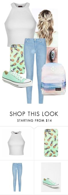 """""""i dislike school very much"""" by queen-hstyles ❤ liked on Polyvore featuring Ally Fashion, 7 For All Mankind, Converse, JanSport, women's clothing, women's fashion, women, female, woman and misses"""