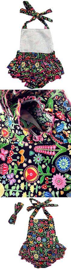 DQdq Baby Girls' Cotton Ruffles Romper Summer Dresses with Headband Black Dandelion