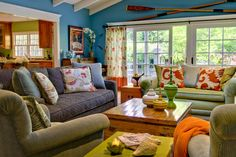 Cozy and colorful family room by Viscusi Elson Interior Design