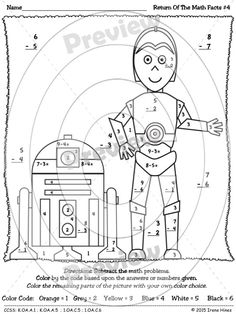 Star Wars: Return Of The Math Facts ~ Basic Color By The Code Math Puzzle Printables To Practice Number Recognition, Basic Addition and Basic Subtraction Skills  ~This Color By Number Unit Is Aligned To The CCSS. Each Page Has The Specific CCSS Listed.~  This set includes 4 Star Wars themed math puzzles to practice math skills. Perfect for Kindergarten and First Grade Remedial Math.  Skills Covered:  ~ Number Recognition ~ Basic Addition Facts ~ Basic Subtraction Facts  $