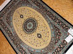 ペルシャ絨毯クム産地シルク玄関マット48044,最高級玄関マット