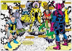 Marvel's cosmic entities.  Art by Mark Gruenwald.