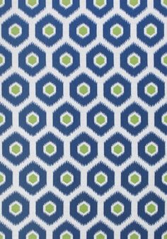 Geode Ikat Outdoor Fabric A fun and fresh woven outdoor fabric with ikat-inspired hexagons in contrasting shades of denim blue and kiwi.