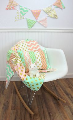 Baby Girl Blanket, Minky Blanket, Nursery Decor, Patchwork Blanket, Glitz, Gold, Mint Green, Pink, Blush, White, Dots, Chevron, Gold Nursery