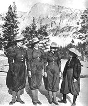 Stella, Bertha and Mabel Sweet and friend Maybel Davis ascended Mt. Lyell, the highest mountain in Yosemite, in 1896. They were the third group of women to climb Mt. Lyell and the first group to descend into Tuolumne Canyon.