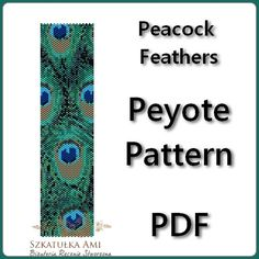 Peacock  Feathers Peyote Pattern Beading - Tutorial PDF - instant download on Etsy, $5.00