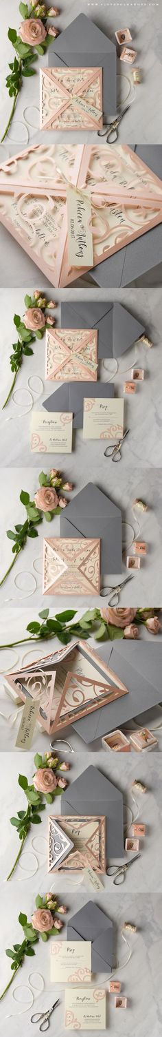 Blush & Grey Laser Cut Lace Wedding Invitation #weddingideas #summerwedding