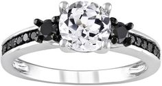Lab-Created White Sapphire & Black Diamond Engagement Ring in Sterling Silver (1/3 ct. T.W.)  , black pins, black board, black, the color black, black color palette, black theme, black color scheme, black things, black aesthetic, black fashion ( affiliate )