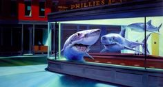 "Ron English ""Night Sharks at the diner"""