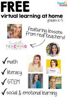 Introducing teach from offering free daily lessons and activities for grades including videos, printable manipulatives and other resources for parents! Literacy Stations, Literacy Centers, Real Teacher, Making Words, Daily Math, Free Teaching Resources, Social Emotional Learning, Math Concepts, Stem Activities