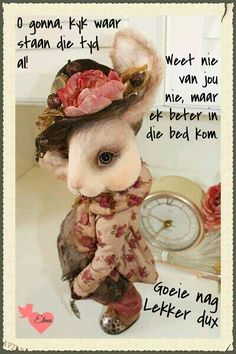 Evening Greetings, Good Night Blessings, Goeie Nag, Afrikaans Quotes, Good Night Quotes, Sleep Tight, Good Morning, Poems, Teddy Bear