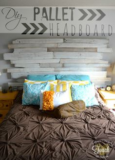A mommys life...with a touch of YELLOW: DIY Pallet Headboard {tutorial} <3 this!
