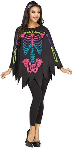 OFF or FREE SHIP -Poncho Skeleton Color Adult One Size : A great idea for a quick costume for any Halloween or Day of the Dead celebrations. Poncho with colorful skeleton bone print. Leggings and shoes not included. One size fits adult sizes from Scary Halloween Costumes, Halloween Costume Accessories, Adult Costumes, Costumes For Women, Women Halloween, Spooky Halloween, Halloween 2020, Halloween Ideas, Blake Lively