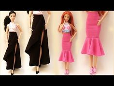 DIY Mermaid Skirt for Barbie and Other Dolls - Tutorial Barbie Et Ken, Barbie Stil, Barbie Dolls Diy, Diy Barbie Clothes, Fairy Clothes, Barbie Dress, Barbie Patterns, Doll Clothes Patterns, Clothing Patterns