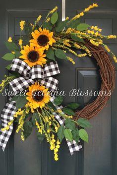 Sunflower Wreath, Farmhouse Wreath, Year Round Wreath, Summer Wreath, Spring Far. Summer Door Wreaths, Wreaths For Front Door, Holiday Wreaths, Front Door Decor, Spring Wreaths, Winter Wreaths, Front Porch, Summer Door Decorations, Diy Wreath
