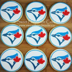 ⚾ ⚾🍁🍁 Let's go Blue Jays! Bradford Ontario, Logo Cookies, Go Blue, Toronto Blue Jays, Opening Day, Custom Cookies, Yummy Cookies, Cookie Decorating, Baseball