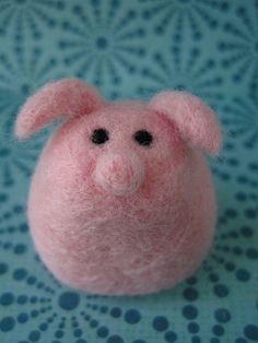 Needle felted pig.
