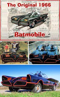 'George Barris' built the 1966 'Batmobile' from a 1955 'Lincoln Futura' for the 'Batman TV Series' Original Batmobile, Batman Batmobile, Batman 1966, Im Batman, Superman, Batman Car, Batman Tv Show, Batman Tv Series, Ex Machina