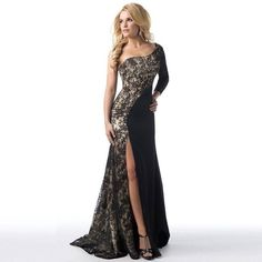Fashion Asymmetrical Dress Women Formal Wedding Bridesmaid Long Ball Prom Gown Lace Patchwork Dress