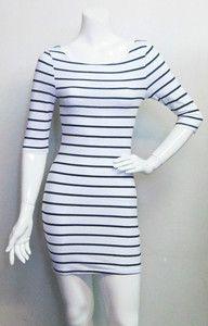 White & Black striped 3/4 sleeve bodycon tight mini dress l-o-v-e!!