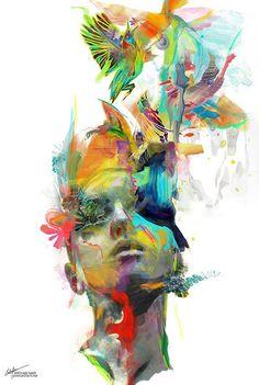 "Threyda | Art & Goods | ""Dream Theory"" Archan Nair  #vibes #indigo #moonchild#consciousness #kundalini #spaceporn #synchronicity #alchemy #highervibes #chakra #goddess #higherself #moonphases #om #divine #thirdeye #threyda #peace #awakening #crystals #love #art #hippie #universe #cosmos #zen #psychedelic #goodvibes #magic #denver #colorado #trippy #painting #sculpture #digitalart #visionaryart #threyda"
