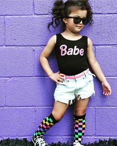 """Little Wonderland Clothing on Instagram: """"and.... This BABE! <you know you rock, when you have walls painted for you> Mackenzie.. Stylin! Our BABE Leo + distressed denim @the_blonde_gypsy + knee highs @neoneaters + shades @fjs_popshop  Babe-a-licous! #babe #fashion #fashionista #kidsfashion #girl #streetwear #dress #hipkidfashion #trendy #style #igkiddies #stylish #stylishkids #toddler #unicorn #love #ootd #iconic #logo #love #fleece #chic #epic #fashionicon #supermodel #rocknroll"""