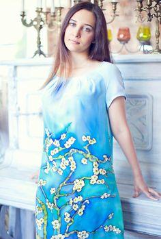 Summer silk dress. Hand painted silk dress. by ArmeniaOnSilk, $165.00