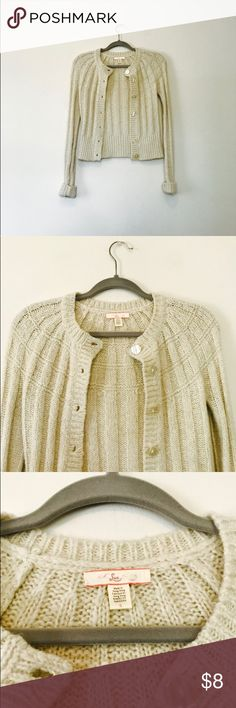 Lux Cardigan Adorable cream Cardigan that is in great condition but is missing a button. Great for fall. Fits true to size and is from a smoke free home. Lux Sweaters Cardigans