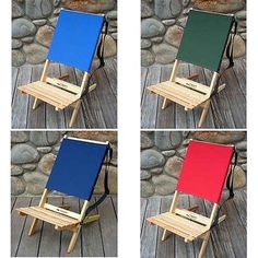Ridge Chair Works Stool Non-Reclining Folding Wood Frame Polyster Fabric Strap
