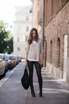 knit and leather legging from Helmut Lang, tee from LNA, shoes from Givenchy and suede moon bag from Simone Camille.
