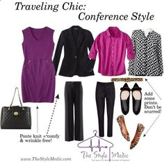 Business casual conference style by the Traveling Chic - Passenger156 Weekend Trip Packing, Business Travel Outfits, Business Trip Packing, Business Casual Outfits, Business Fashion, Packing Lists, Travel Packing, Travel Chic, Work Travel