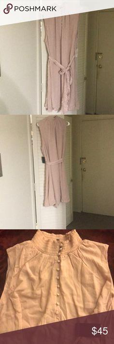 Sleeveless smocked collar dress New with tags. Pale pink midi dress with tie waist Eloquii Dresses Midi