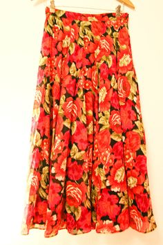 Red Rose Skirt Laura Ashley pink roses flower floral by VikingX, $32.00