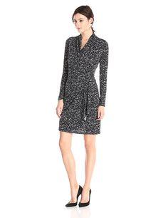Karen Kane Women's Speckle Print Cascade Wrap Dress, Black/Off White, Large at Amazon Women's Clothing store: