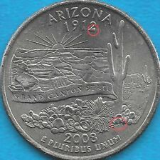 2008 P- ARIZONA STATE QUARTER ERROR COIN- REV - LARGE CHIP on '2' and INITIALS