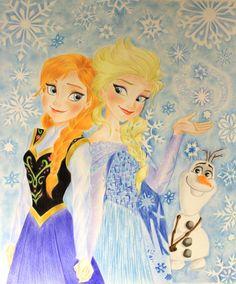 Frozen's Anna Elsa and Olaf, Magic Winter. by ElisabettaGuarino.deviantart.com on @deviantART