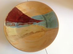 Plate with Coyote Goldenrod and Red Gold.  Amaco Firebrick and Laguna Robins Egg.