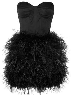 Puffed Feather Frock: Features a boned bodice with padded underwired cups, concealed hook and zip fastening at back, and flumes of fluffy feathers covering a haute couture skirt to finish.