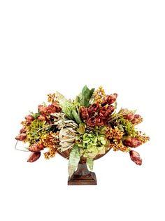 Creative Displays Rose, Green Hydrangea, Banksia & Hops in Metal Urn