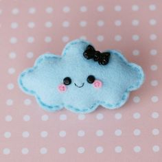 Happy Blue Cloud Felt Brooch by hannahdoodle on Etsy, £7.00