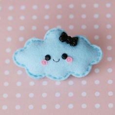 Happy Blue Cloud Felt Brooch by hannahdoodle on Etsy