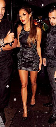 Nicole Scherzinger : Black Leather and Metal Detail Dress