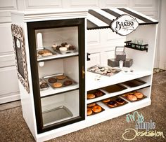 Entertainment center kitchen, dramatic play, play kitchens, cash register t Play Kitchens, Repurposed Furniture, Kids Furniture, Doll Furniture, Furniture Design, Luxury Furniture, Bedroom Furniture, Old Entertainment Centers, Entertainment Center Makeover