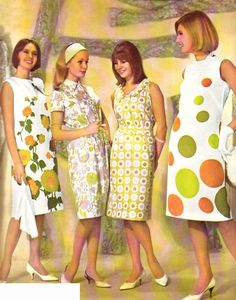 '60s dress fashions. The two on the left remind me of dresses my mother wore