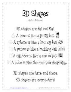 K & 1st math lessons...3d shapes poem