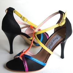 www.felinashoes.com Argentine Tango Shoes from Comme il Faut shoes. Black fabric with fuschia, blue, orange and yellow straps. Stilettos. Sizes 4 (34), Size 5 (35), Size 6 (36), Size 7 (37), Size 8 (38), Size 9 (39), Size 10 (40), Size 11 (41)
