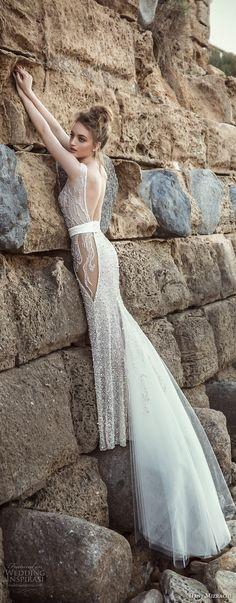 danny mizrachi 2018 bridal sleeveless deep plunging v neck full embellishment glamorous sexy sheath wedding dress open back chapel train (16) sdv -- Dany Mizrachi 2018 Wedding Dresses